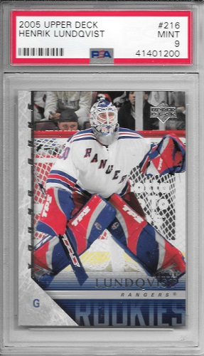 Henrik Lundqvist Upper Deck Young Guns PSA9