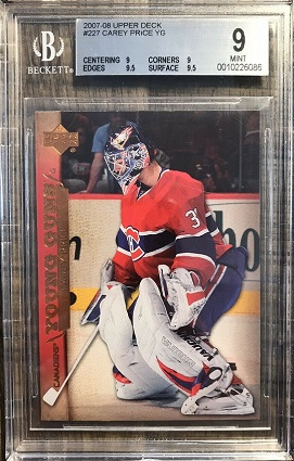 Carey Price 2007-08 Upper Deck Young Guns BGS 9