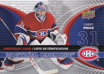 Carey Price 2008-09 McDonalds Goalie Checklist