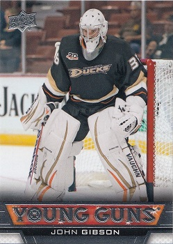 John Gibson Upper Deck Young Guns Rookie Card