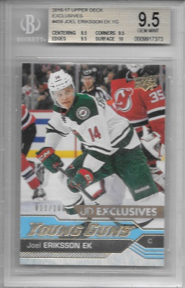 2016-17 Upper Deck Exclusives Eriksson EK BGS 9.5