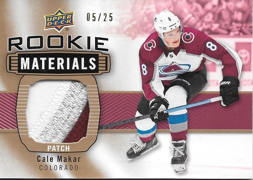 Cale Makar 2019-20 UD Rookie Materials Patch