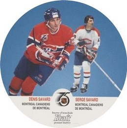 Serge and Dennis Savard Kraft Peanut Butter Disc