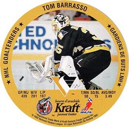Tom Barasso 1992-93 Kraft Peanut Butter Disc