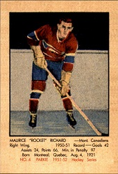 Maurice Richard Parkhurst Rookie Reprint